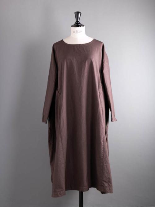 YARMO | NEW GATHERED DRESS CAMBRIC COTTON Brown コットンギャザードレスの商品画像