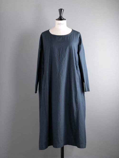 YARMO | NEW GATHERED DRESS CAMBRIC COTTON Navy コットンギャザードレスの商品画像