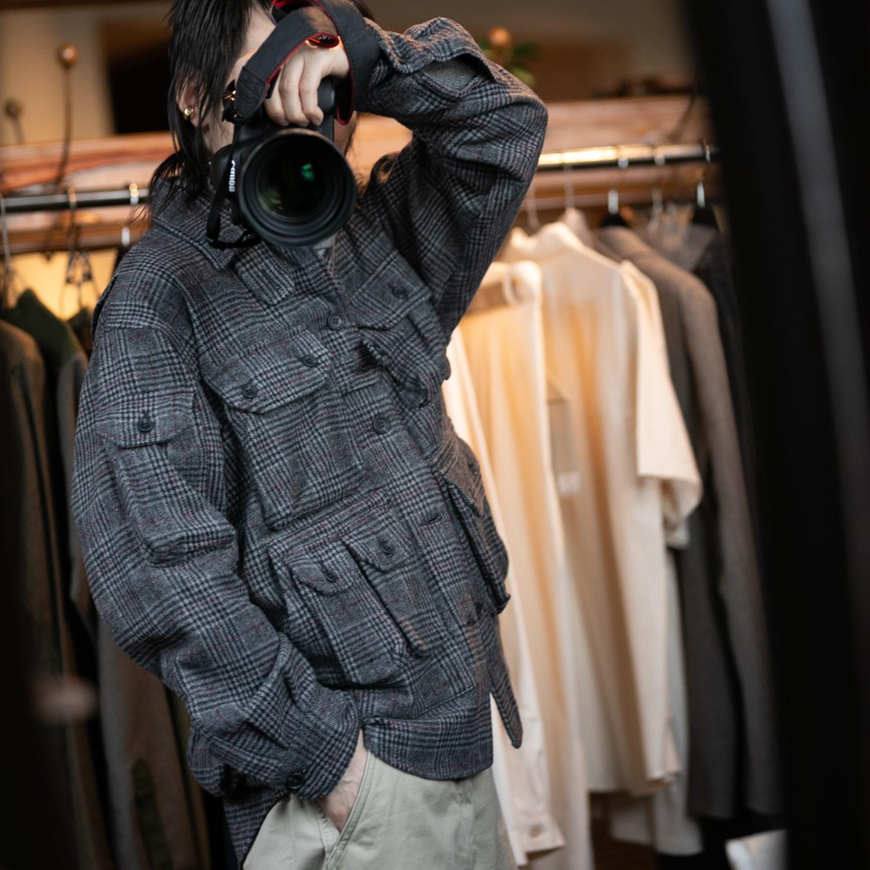ガーメンツ エクスプローラーシャツジャケット ポリウールグレンチェックの福岡通販取扱店